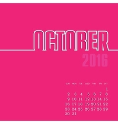 October 2016 year calendar vector