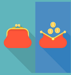 Open and close purse with coins vector