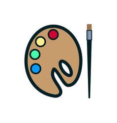 Paint brush with palette icon on white background vector