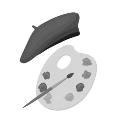 Painting palette and beret icon in monochrome vector