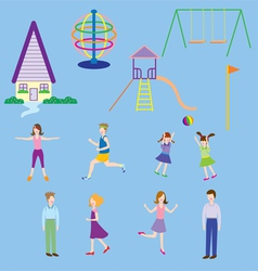 People in village playground vector