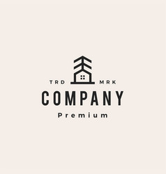 pine house tree hipster vintage logo icon vector image