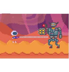 pixelated alien in space suit with blaster vector image