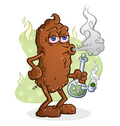 poop smoking marijuana cartoon character vector image