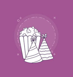Pop corn and party hats vector