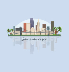 san francisco city skyline in usa vector image