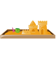 Sandbox with sandcastle and bucket vector