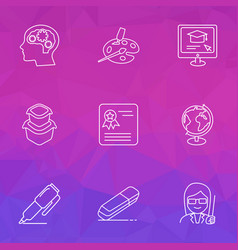 school icons line style set with eraser female vector image