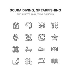 scuba diving snorkeling line icons spearfishing vector image