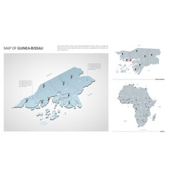 Set guinea-bissau country isometric 3d map vector