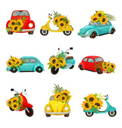 Set images retro mopeds and cars vector
