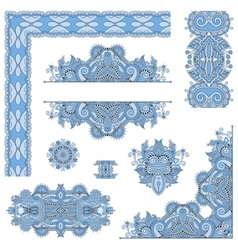 set of blue colour paisley floral design elements vector image