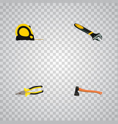 Set of tools realistic symbols with measure tape vector