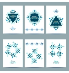 Set of white cards with ethnic design vector image