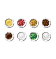 set realistic sauces in caps olive oil soy vector image