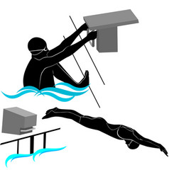 set silhouettes swimmers athletes vector image