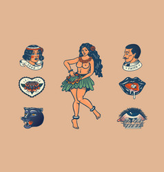 Set vintage school tattoo characters playing vector