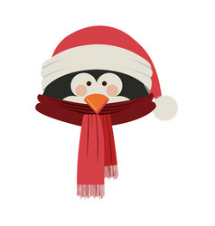 Silhouette of penguin face with scarf and vector