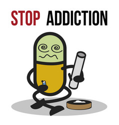 Stop addiction marijuana conceptual vector