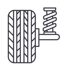 Suspension car auto line icon sig vector