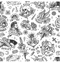 tattoos vintage seamless pattern vector image
