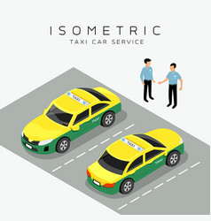 Taxi car isometric with taxi driver background vector