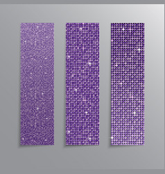 The banner purple sequins glitter sparkle back vector