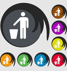 throw away the trash icon sign Symbol on eight vector image