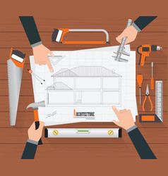 top view of construction planning drawings vector image