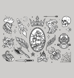 vintage tattoos collection vector image