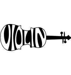Violin text silhouette vector