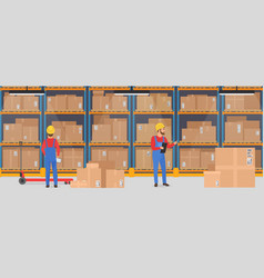 Warehouse interior with working people vector