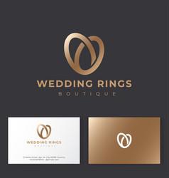 Wedding rings logo salon emblem vector
