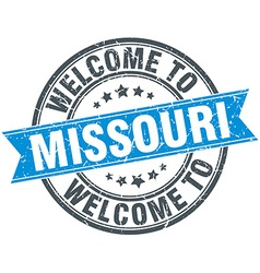 Welcome to Missouri blue round vintage stamp vector