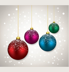 winter holiday with christmas balls vector image