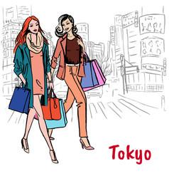 Women in tokyo vector