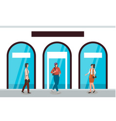 women on background shop windows vector image
