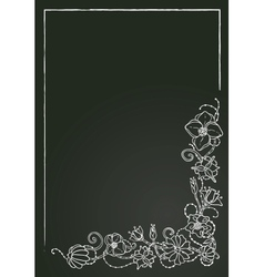 floral card chalk flowers and leaves vector image vector image