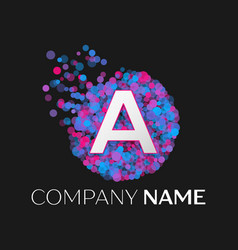 letter a logo with blue purple pink particles vector image