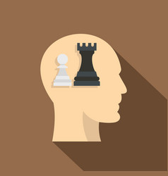 Queen and pawn chess inside human head icon vector