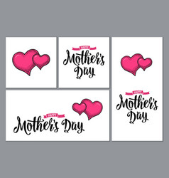 two human heart happy mother s day lettering vector image vector image