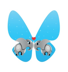 elephants in love butterfly vector image vector image