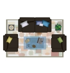Interior icons top view with sofa armchair couch vector image vector image