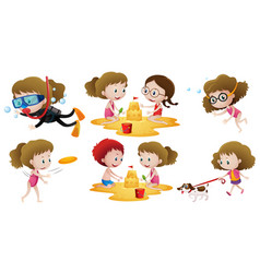 little girl doing different actions with friends vector image