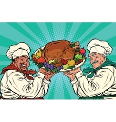 multi-ethnic chefs with roast Turkey vector image vector image