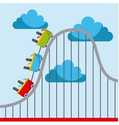 roller coaster carnival amusement park image vector image