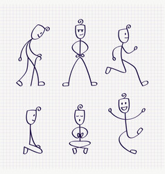 stick figure of man with different poses vector image