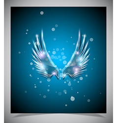 Abstract blue background with glass wings vector image vector image