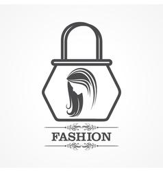 Beauty and fashion icon with handbag vector image