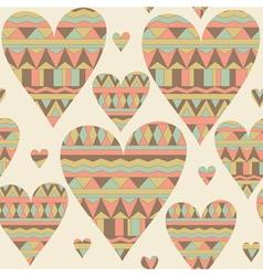 Cartoon hearts seamless pattern Tribal style vector image vector image